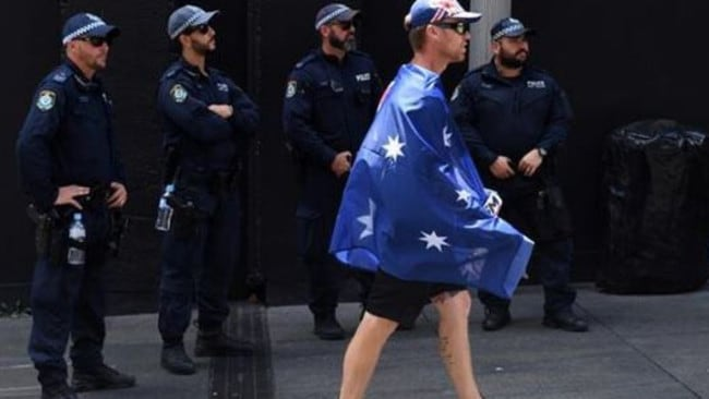 Saturday's Reclaim Australia rally in Sydney was a fizzer with more police and media than far right protesters. Picture: AAP.