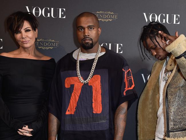 Kris Jenner, Kanye West and Travis Scott at a Vogue party in 2015. Picture: Pascal Le Segretain/Getty Images for Vogue