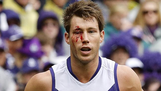 Lee Spurr's ability to read the play - and toughness - impressed against the Cats. Picture: Wayne Ludbey