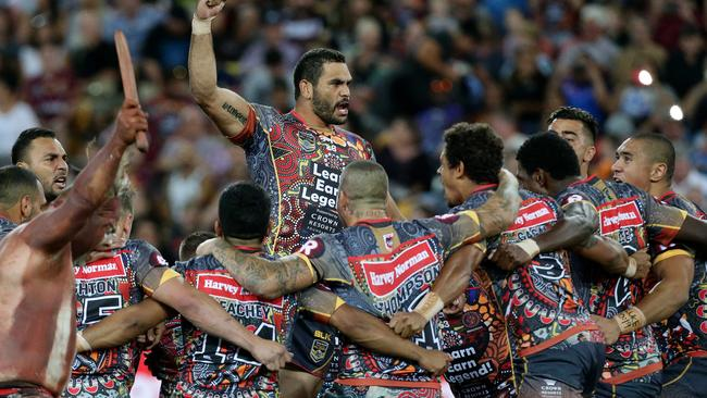 Greg Inglis during the Indigenous All Stars war dance.