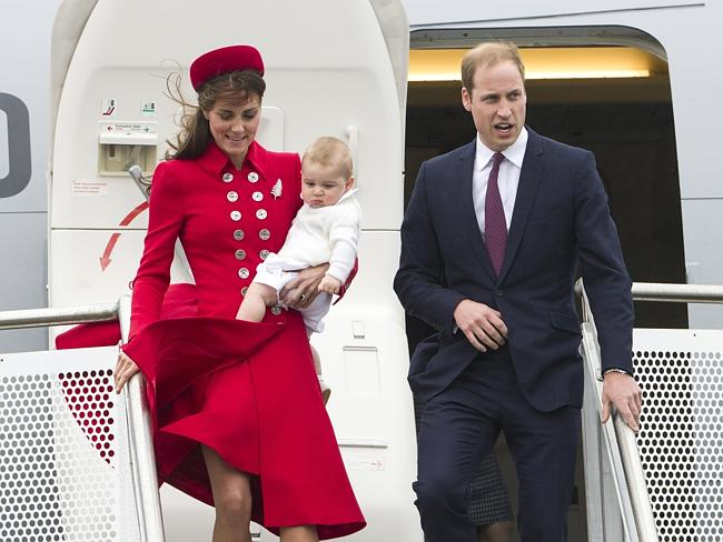 Britain's Prince William and Catherine, Duchess of Cambridge with Prince George arrive for their visit to New Zealand. Picture: AP