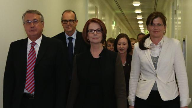 This is now: Julia Gillard with supporters walking to the Labor leadership spill vote on Wednesday night.