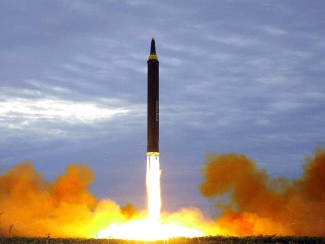 North Korea test launched a Hwasong-12 intermediate range missile in Pyongyang last month. Picture: KCNA/AP