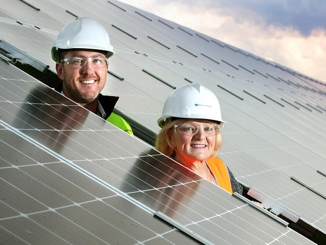 Barwon Water deputy chair Elaine Carbines and manager strategy, policy and planning, Seamus Butcher at the Black Rock solar plant . Picture: Alison Wynd