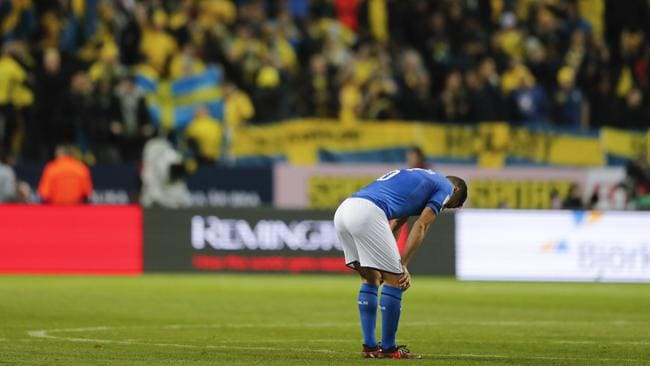Italy's Antonio Candreva after the World Cup qualifying defeat.