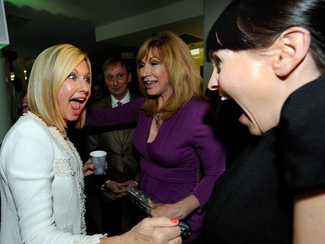 Leeza Gibbons and Rachel Gordon surprise Olivia Newton-John at the opening of the Olivia Newton-John Cancer and Wellness Centre at the Austin Hospital, Heidelberg. Picture: Supplied