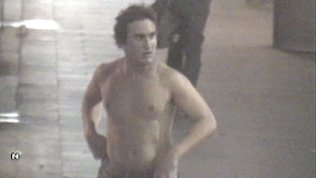 CCTV footage of a shirtless man resembling Roberto Laudisio Curti.