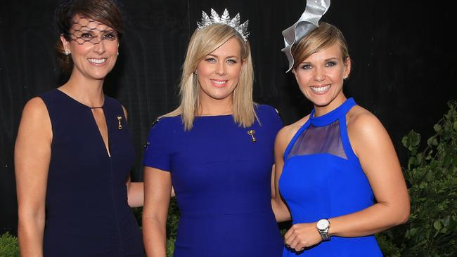 Colleagues Natalie Barr, Samantha Armytage and Edwina Bartholomew at the Melbourne Cup. Picture: Alex Coppel.