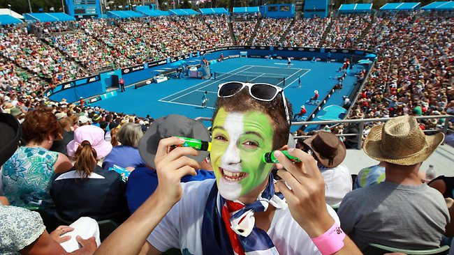 2012 Australian Tennis Open. Crowd colour/hot weather pics. Jacob Yordonopulo 15yrs from Rowville zincs up in Aussie colours to protect him from the sun's rays on Margaret Court Arena.