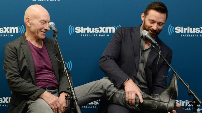 Co-stars ... Patrick Stewart fools around with his X-Men co-star Hugh Jackman. Picture: Getty Images