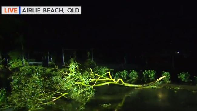 Damage seen on the main street of Airlie Beach on the morning of Tuesday 28 March, 2017. Picture: Channel 9