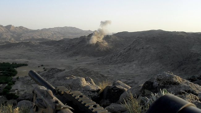 A 500lb bomb strike an insurgent position during the Shah Wali Kot offensive. Picture: ADF