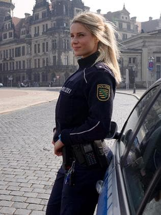 german police officer adrienne kolesza a big hit on social. Black Bedroom Furniture Sets. Home Design Ideas