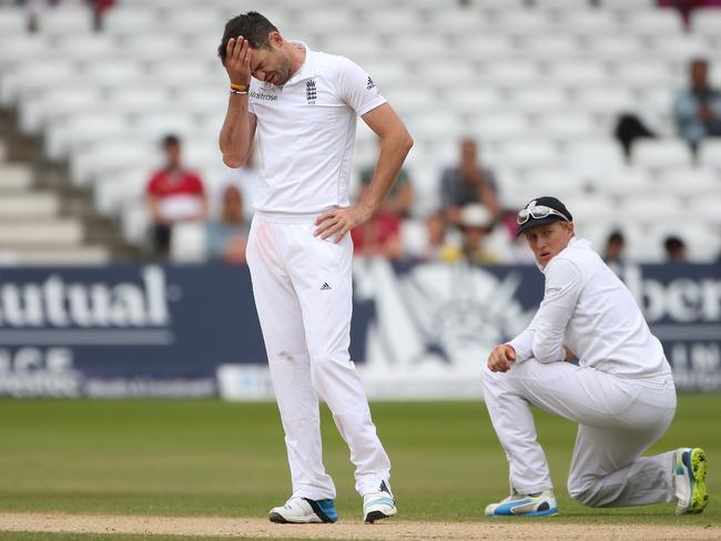 James Anderson is frustrated on the final day of the Test at Trent Bridge as Joe Root watches on.
