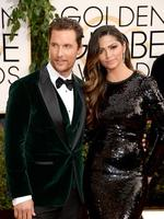 Golden Globes 2014 Red Carpet arrivals at the Beverly Hilton: Matthew McConaughey and wife Camila Alves. Picture: Getty