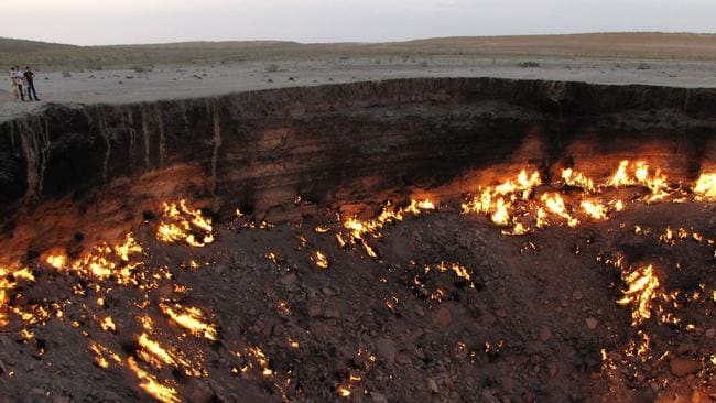 The flames have not gone out in more than 40 years, in a potent symbol of the vast gas reserves of Turkmenistan, which are believed to be the fourth largest in the world. Picture: AFP