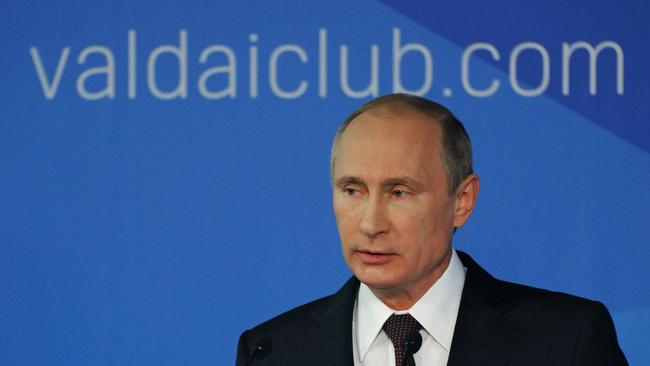 Accusations ... Russian President Vladimir Putin speaks to political experts in Sochi, Russia. Picture: AP Photo.