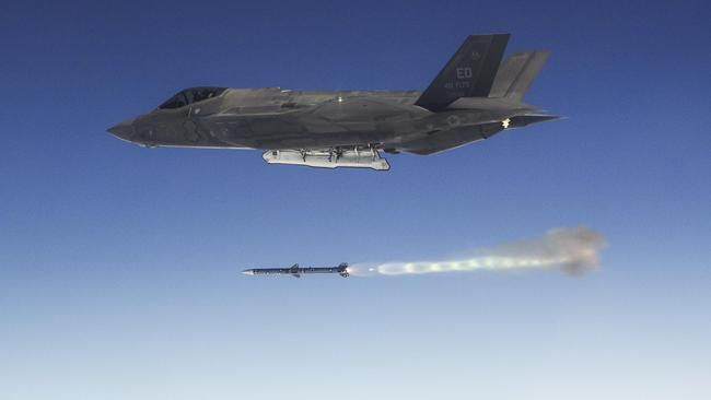 An F-35 fires an AIM-120 missile over the Pacific Ocean range near NAWS Point Mugu during a recent Weapons Delivery Accuracy testing surge. Picture: Lockheed Martin