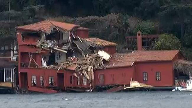 A red seaside historic mansion on the Bosporus strait, after being severely damaged by a tanker ship that crashed into it, in Istanbul, Saturday, April 7, 2018. Picture: DHA-Depo Photos via AP.