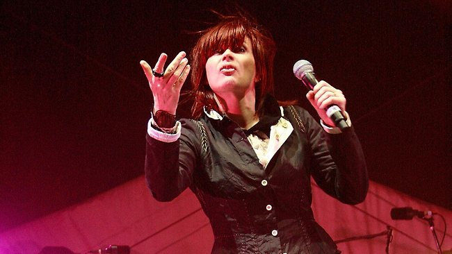 Chrissy Amphlett and Mark McEntee from The Divinyls perfom at Fremantle Oval. Picture: Getty