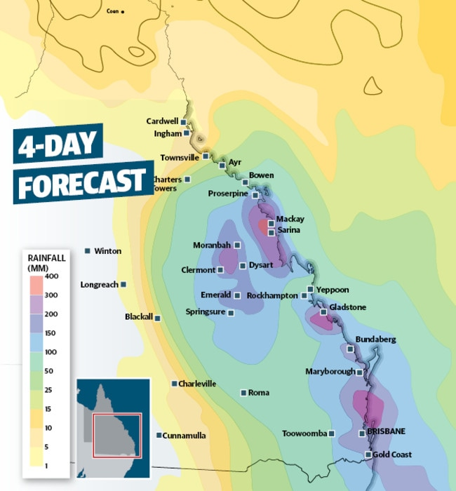 The deluge will swamp much of Queensland.