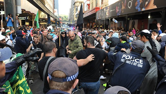 Islamic protest in the streets of Sydney from Hyde Park to George Streets. Picture: Simon Bullard