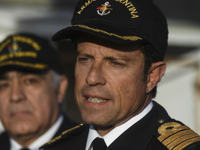 Warship captain Gabriel Galeazzi speaks with journalists at Argentina's Navy base in Mar del Plata after attempted distress calls raised hopes the 44 crew members may still be alive. Picture: AFP Photo/Eitan Abramovich