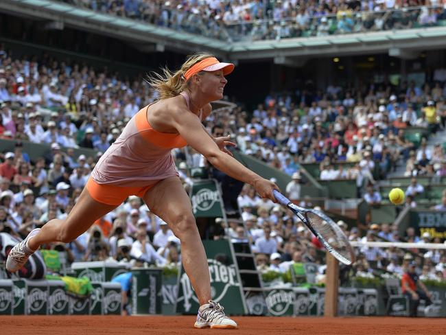 Sharapova hits a return during the hard fought final. Picture: Miguel Medina