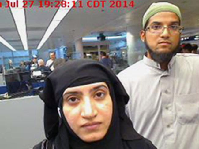 San Bernardino terrorists Tashfeen Malik and her husband Syed Farook, whose locked iPhone the FBI are trying to force Apple to help them hack into. Picture: US Customs and Border Protection via AP