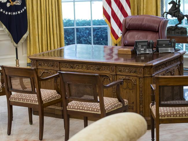 The Resolute Desk where President Trump takes his calls. Picture: AP Photo/Carolyn Kaster