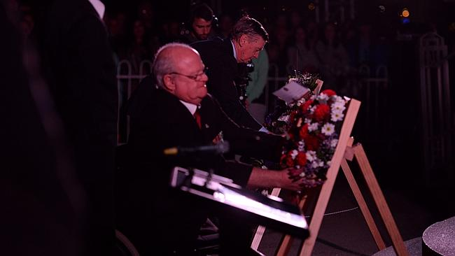 The 2014 ANZAC Day Dawn Service at Kings Park in Perth is attended by around 40,000 people. pictured - WA Governor Malcolm McCusker
