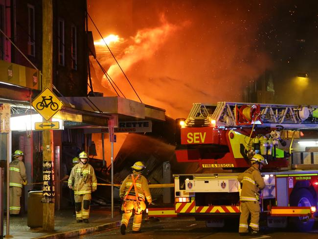 A group of shops have exploded in Darling St, Rozelle. Picture: Bill Hearne