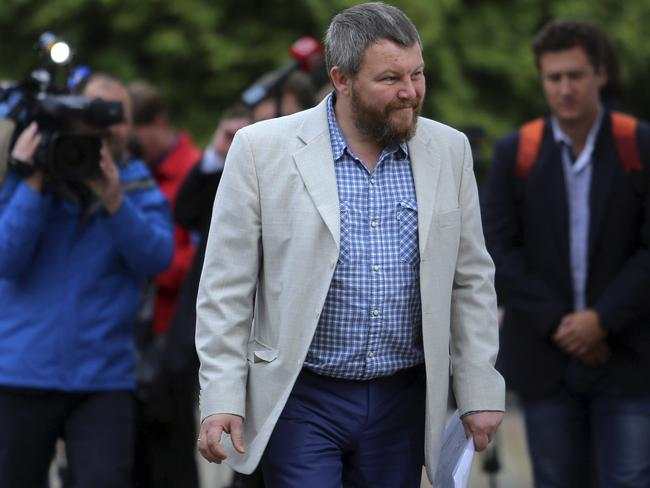 Pro-Russian rebel leader Andrei Purgin arrives for the talks in Minsk.