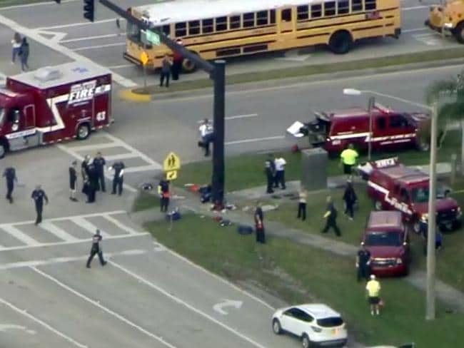 The Broward County Sheriff's Office on the scene at Stoneman Douglas High School in Parkland. Picture: WSVN