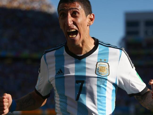 Angel di Maria celebrates scoring Argentina's only goal against Switzerland.