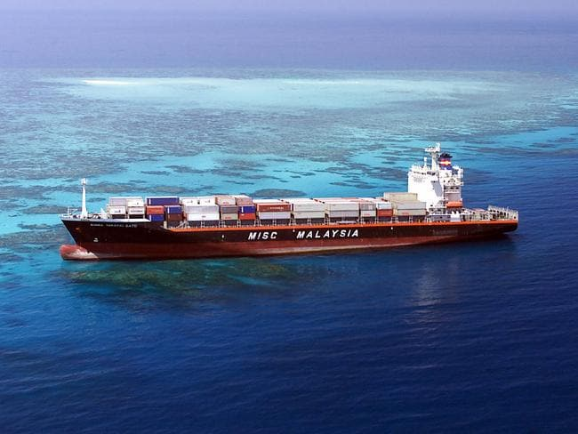 Container ship Bunga Teratai Satu run aground on the Great Barrier Reef in 2000.