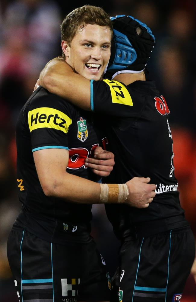 Panther's Matt Moylan celebrates kicking the winning field goal.