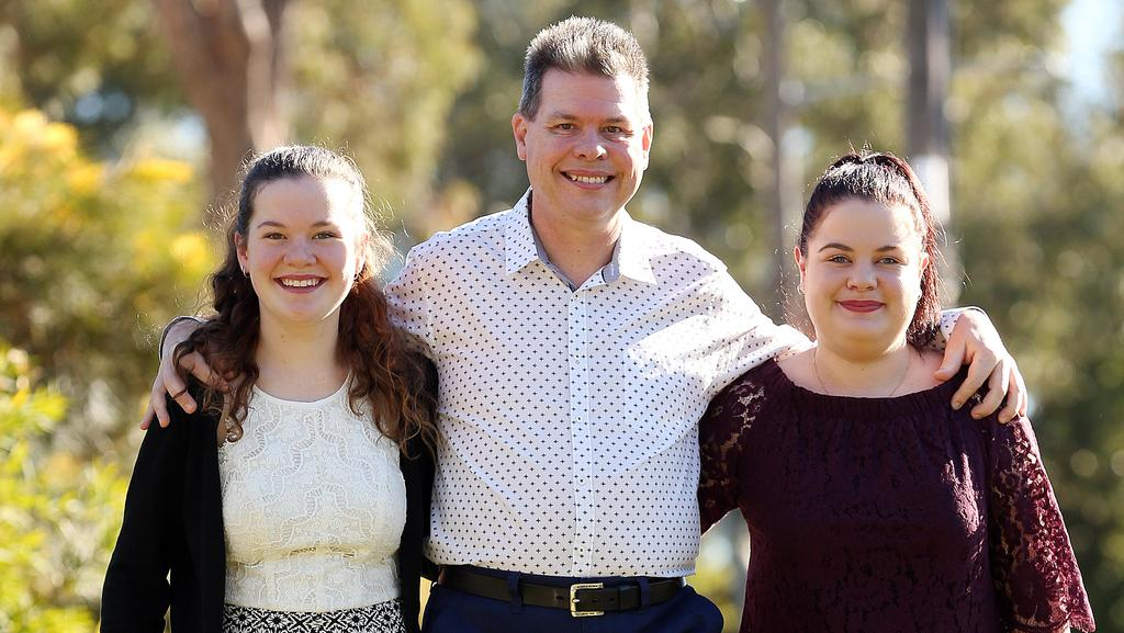 Peter Critchley passed on a genetic disorder called Charcot-Marie-Tooth disease to his two daughters Matilda and Eleanor. Picture: Sam Ruttyn