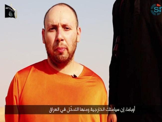 Sickening ... a video released by the Islamic State (IS) shows 31-year-old US freelance writer Steven Sotloff speaking to the camera before being beheaded. Picture:AFP/ SITE INTELLIGENCE GROUP