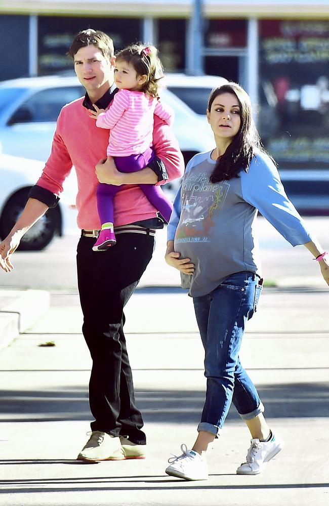 The heavily pregnant Kunis spotted out and about with daughter Wyatt and husband Ashton Kutcher.