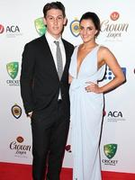 Nic Maddiinson and Rebecca McLean on the red carpet arriving at the 2014 Allan Border Medal held at Doltone House at Hyde Park. Picture: Richard Dobson