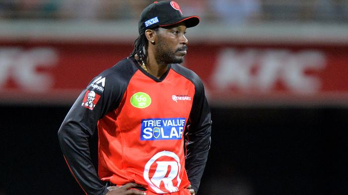 BRISBANE, AUSTRALIA - DECEMBER 19: Chris Gayle of the Renegades prepares himself in the field during the Big Bash League match between the Brisbane Heat and the Melbourne Renegades at The Gabba on December 19, 2015 in Brisbane, Australia. (Photo by Bradley Kanaris/Getty Images)