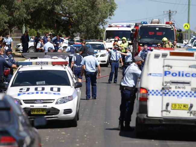 Emergency services turned out in force after the incident. Picture: Phillip Rogers