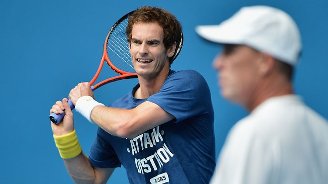 Andy Murray practises at Melbourne Park before his Australian Open quarter-final against Jeremy Chardy.