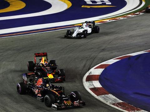 Drivers tackle the Marina Bay Street Circuit during last year's Grand Prix. Picture: Mark Thompson/Getty Images.