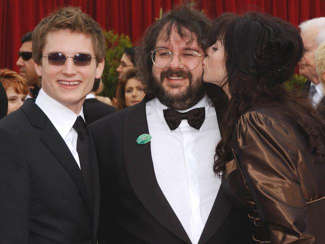 Peter Jackson with his wife Fran (R) and actor Elijah Wood at the 74th Annual Academy Awards in 2002. Picture: Supplied