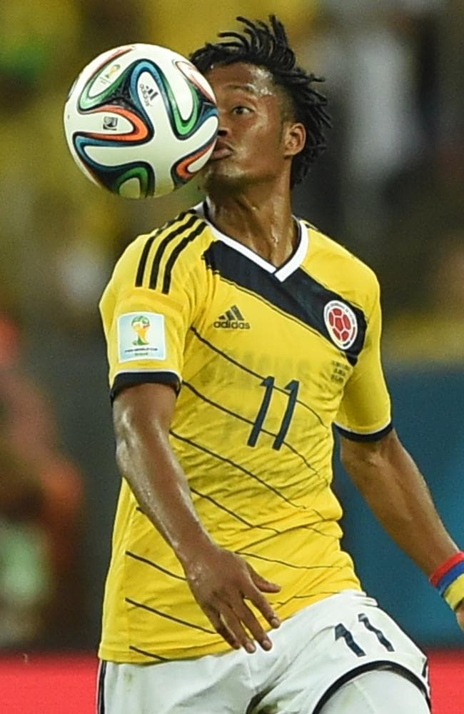 Eye on the ball. Colombia's midfielder Juan Guillermo Cuadrado.