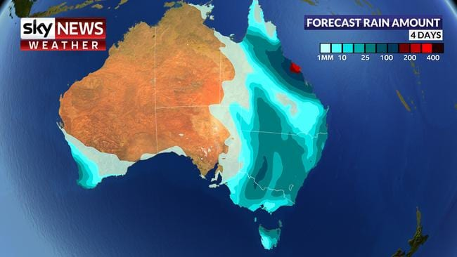 For the next four days rain, much of it heavy, is expected across Australia's east and south west. Picture: Sky News