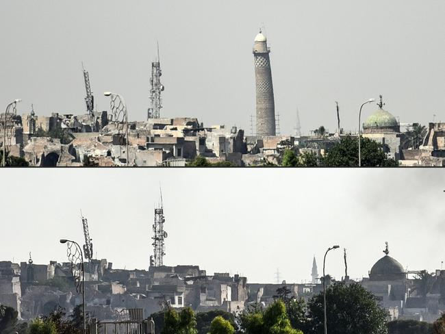 (COMBO) This combination of pictures created on June 22, 2017 shows (top) a picture taken on June 20, 2017, of Mosul's leaning Al-Hadba minaret and (bottom) a picture taken on June 22, 2017 of Mosul's skyline missing it's trademark minaret the day after it was blown up. Picture: Mohamed El-Shahed/AFP
