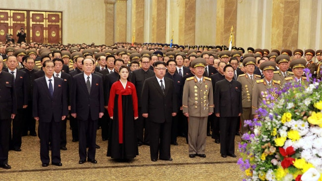 A picture released by North Korean news agency, KCNA (Korean Central News Agency) on January 1, 2017 shows Kim Jong-Un and Ri Sol-Ju visiting the Kumsusan Palace of the Sun on the New Year's Day. Photo: AFP PHOTO